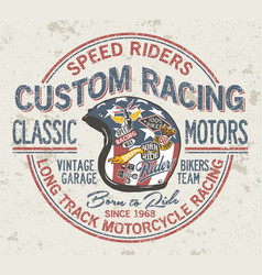 custom motorcycle vintage racing helmet vector image