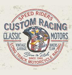 Custom motorcycle vintage racing helmet vector