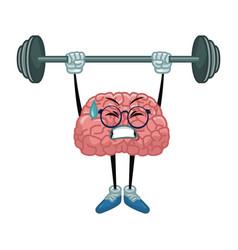 Cute brain cartoon doing exercise vector