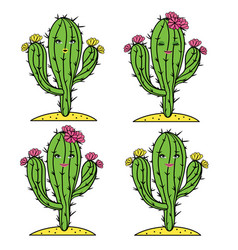 cute cactus set with girl faces and flowers vector image