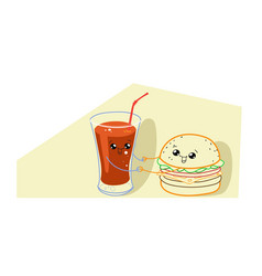cute hamburger with tomato juice cartoon comic vector image
