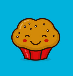 cute happy smiling muffin cupcake vector image