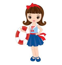 Cute little girl with buoy vector