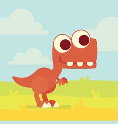 cute t-rex on the field dinosaur life vector image