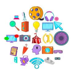 Data store icons set cartoon style vector