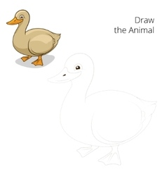 Draw animal duck educational game vector