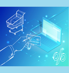 ecommerce pc computer and credit card payment vector image