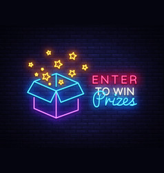 enter to win prizes neon sign gift neon vector image