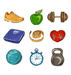 Fitness colored sketch icons vector image