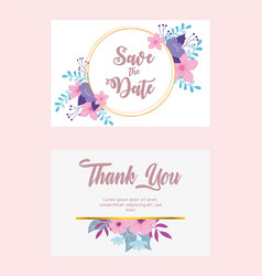 flowers wedding save date and thanks you vector image