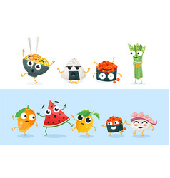 funny sushi and fruit characters - set of vector image