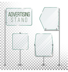 Glass screen banner set empty advertising vector