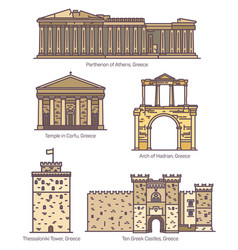 Greece or greek famous line architecture monuments vector