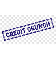 Grunge credit crunch rectangle stamp vector