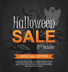 Hallowen sale banner with ghost vector