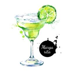 Hand drawn sketch watercolor cocktail Margarita vector image