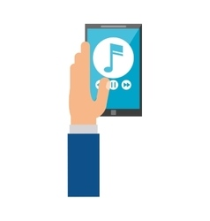 Hand hold smartphone play music vector