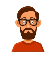 Hipster Man in Glasses Avatar Profile Userpic on vector image