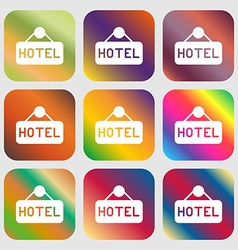 hotel icon sign Nine buttons with bright gradients vector image