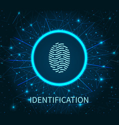 identification of human fingerprint poster vector image