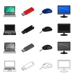 Isolated object of laptop and device logo vector