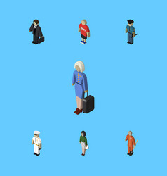 Isometric human set of seaman cleaner hostess vector