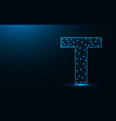 letter t low poly design alphabet abstract vector image
