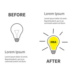 light bulb line icon set switch on off lamp idea vector image