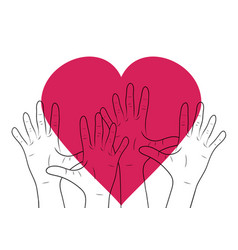 Linear human hands with big heart vector