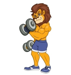Lion with dumbbells vector image