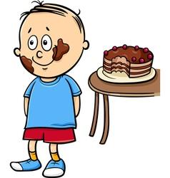 Little gourmand boy cartoon vector