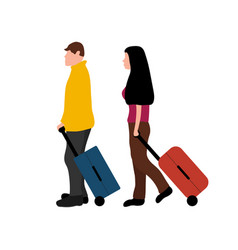 Man and woman travelers with suitcases isolated on vector