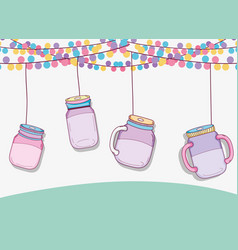 Mason jars party vector