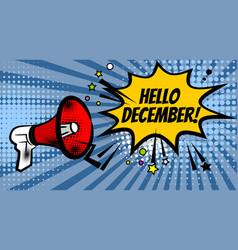 megaphone pop hello december vector image