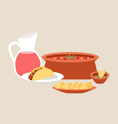 mexican cuisine dishes set of vector image