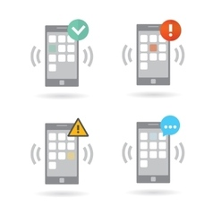 Mobile smart phones set with different push vector image