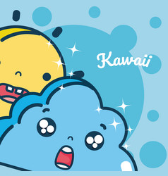 Moon and cloud cute kawaii cartoon vector