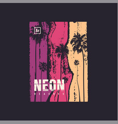 Neon beaches t-shirt design poster print vector