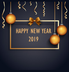 new year background with balls and bow in golden vector image