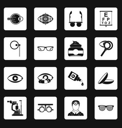 Ophthalmologist tools icons set squares vector