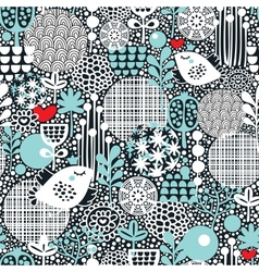 Pattern with snow birds hearts and flowers vector