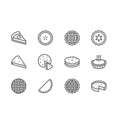 pie flat line icons set ossetian cherry apple vector image