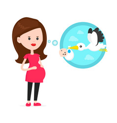 pregnant woman think about flying stork vector image
