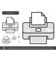 Printer line icon vector image
