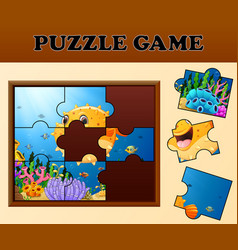 puffer fish in undersea with puzzle concept vector image