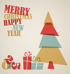 Retro Christmas card with christmas tree and gifts vector image