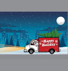 Santa driving truck in the night vector