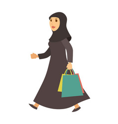 Saudi arab muslim woman with shopping bags vector
