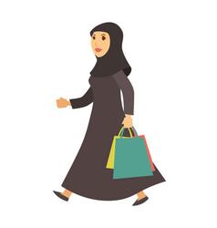 saudi arab muslim woman with shopping bags vector image