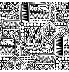 Seamless asian ethnic floral doodle black and vector image